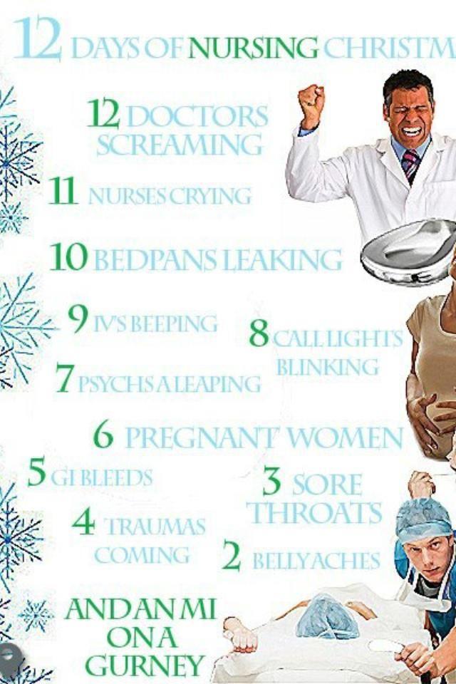 12 Days Of Christmas Nursing Style Nurse Christmas Nurse Hospital Nurse