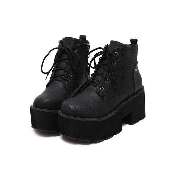 c7dd21aaf1 SheIn(sheinside) Black Thick-soled Round Toe Boots ($43) ❤ liked on Polyvore  featuring shoes, boots, black, black high heel boots, chunky boots, black  ...