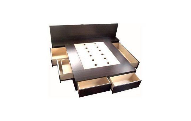 Cama con cajones base sommier para colchon opcional for Base para cama queen size minimalista