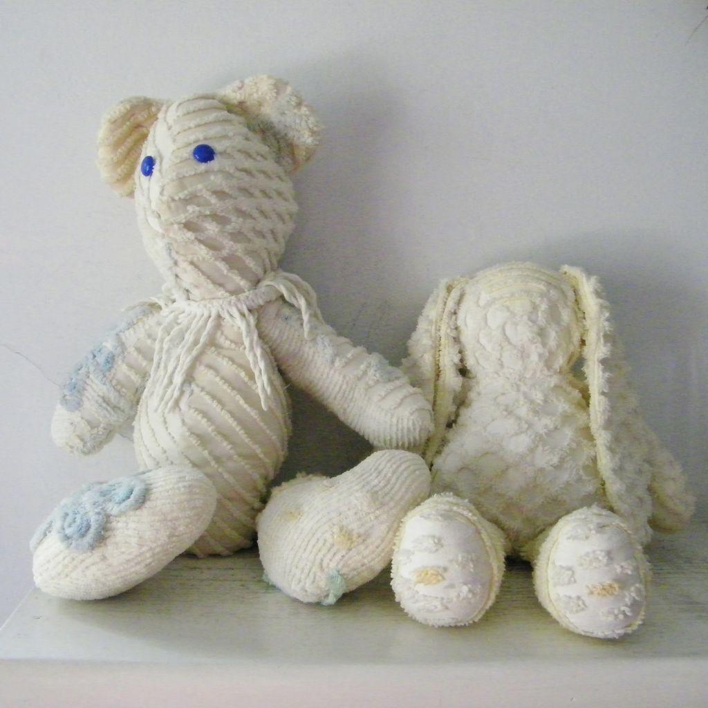 Vintage Chenille Bedspread Teddy Bear and Rabbit Toy Stuffed Animals.