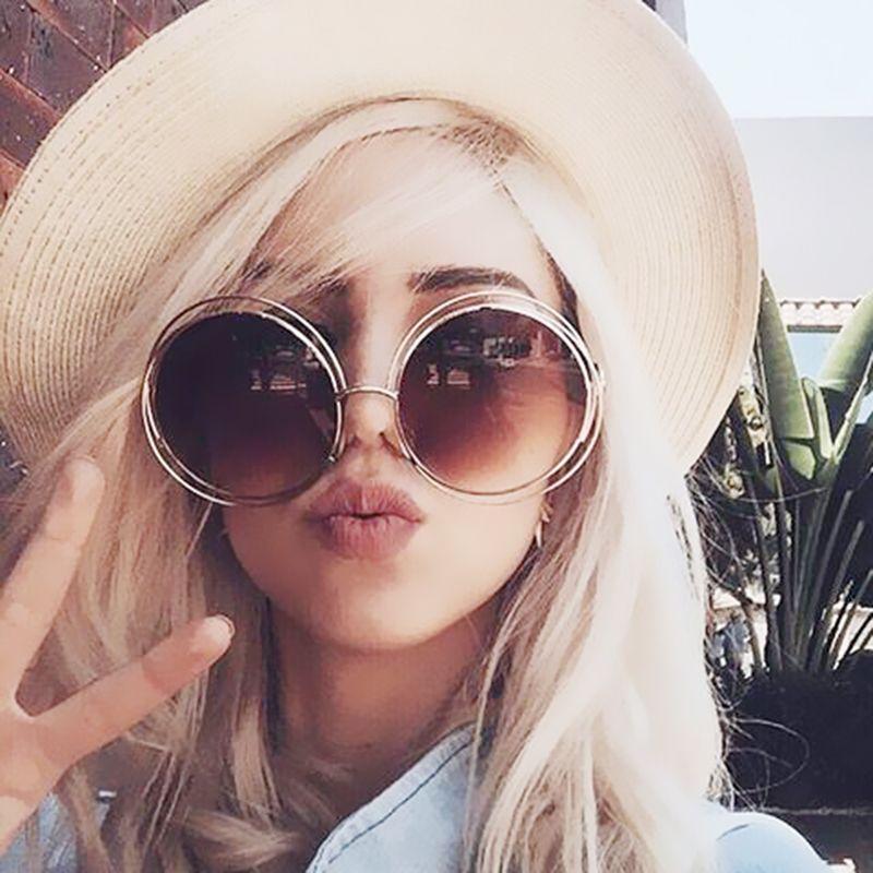 Vintage Oversized Lens Mirror Brand Designer Sunglasses Lady Cool Retro UV400 Women Sun Glasses Female EDJPLQTCdX