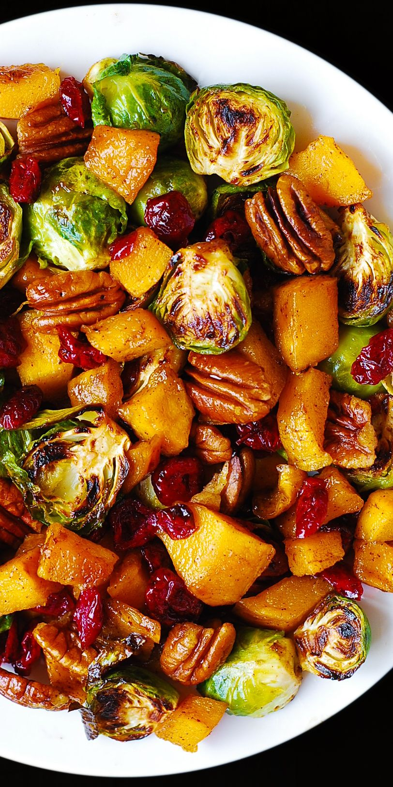 Roasted Brussels Sprouts with Butternut Squash, Pe