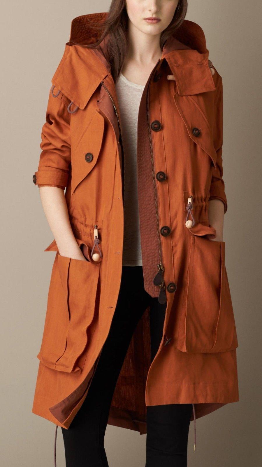 Nwt Burberry Orange Womens Nunnsmoore Linen Parka Jacket Size S Coat Abrigos De Moda Ropa De Invierno Impermeable Mujer