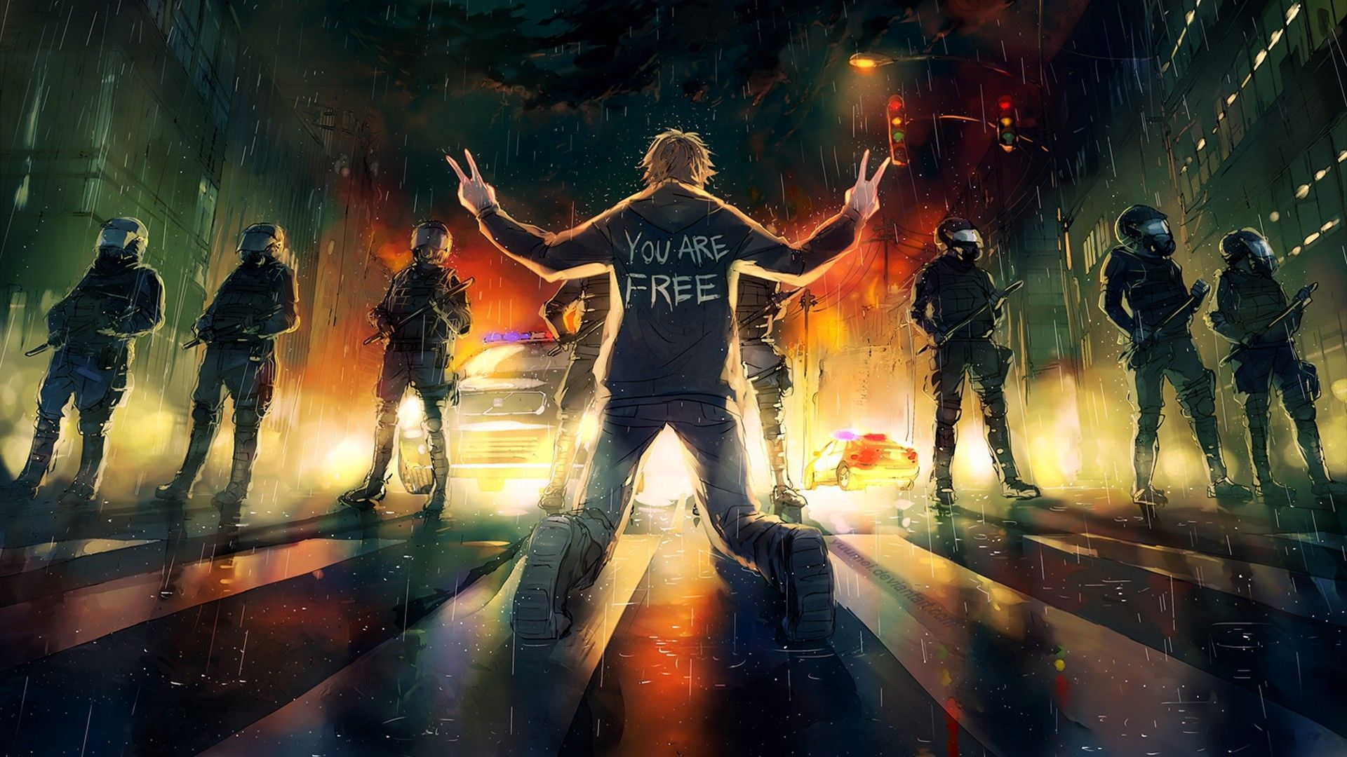 Fighting For Freedom Wallpaper Fisheye Placebo Fantasy Artist Art