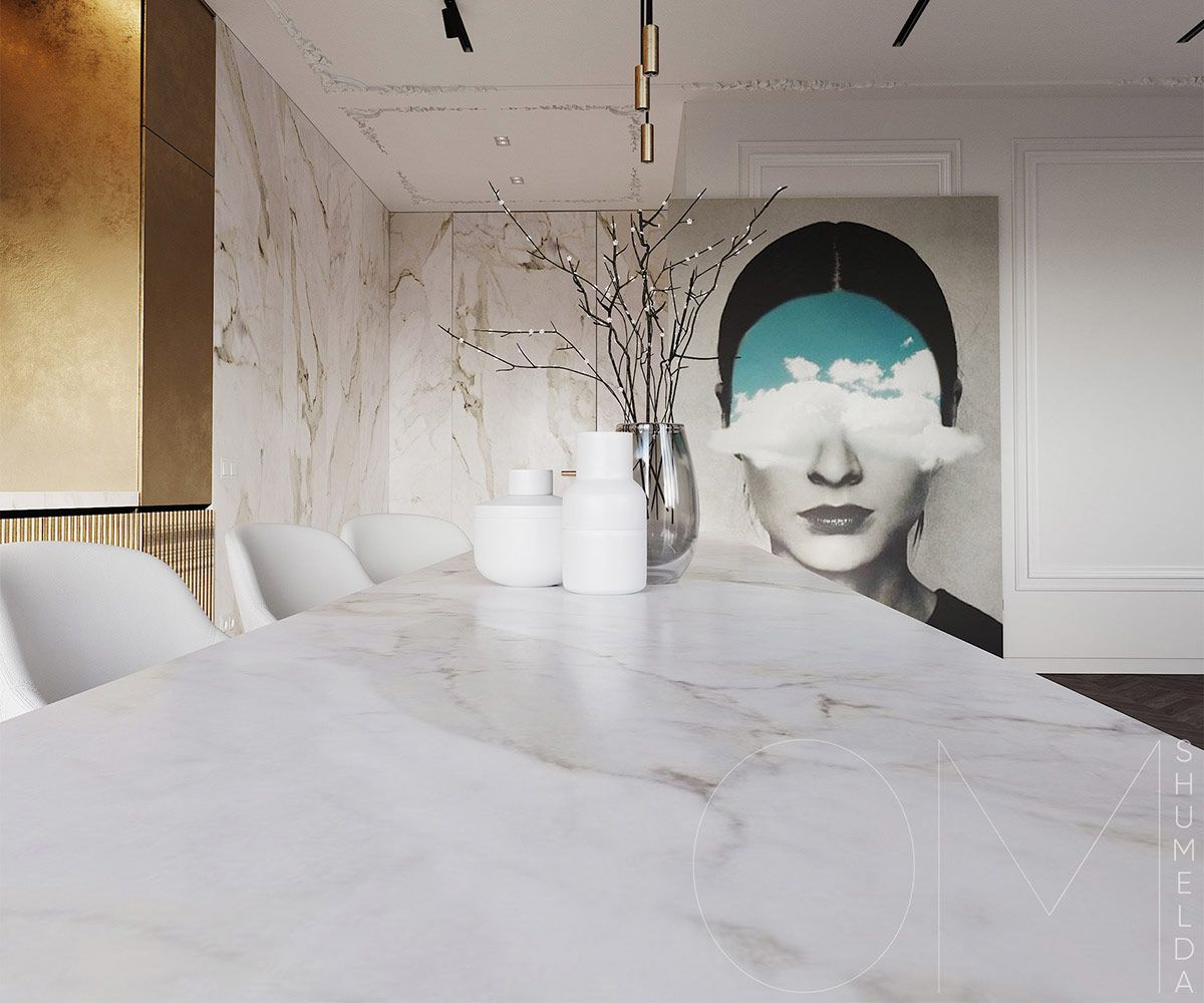 White Marble Tile Black Marble Decor And Blue Accents Accents