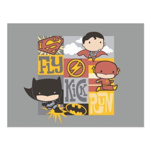 Chibi Justice League Fly Kick Run Postcard Zazzle Com