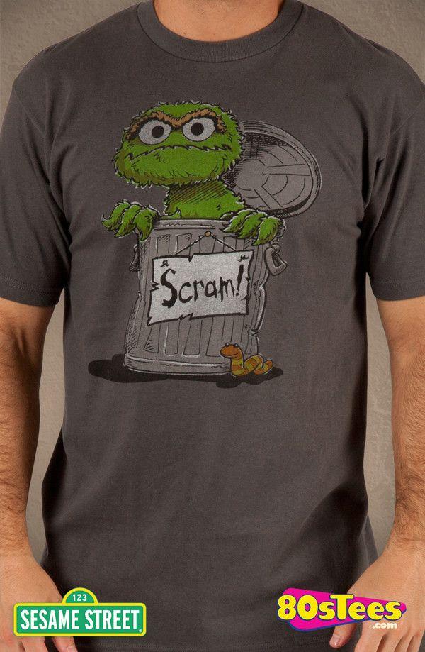 abeb7537 Sesame Street Oscar the Grouch Scram T-Shirt: Sesame Street Mens Tee ...