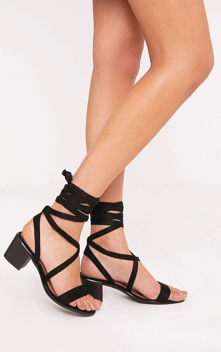 Kallia Black Faux Suede Lace Up Heeled Sandals Pretty Little Thing qPFEi3g