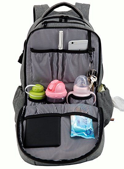 fcdf0793417 Hap Tim Multi-function Large Baby Diaper Bag Backpack W Stroller  Straps-Insulated Bottle Pockets-Changing Pad,High Quality Nylon Fabric  Waterproof for Moms ...