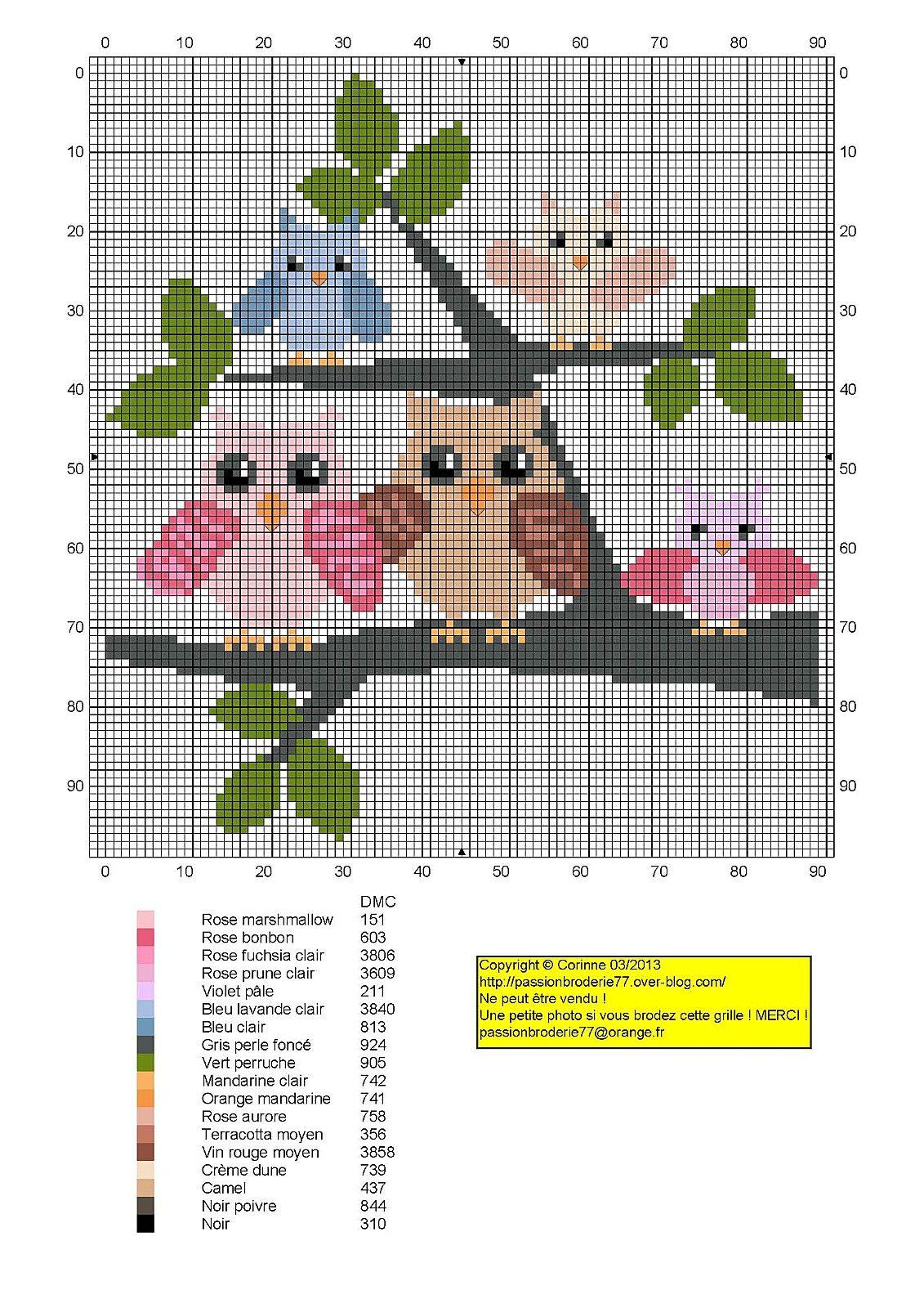 Famille chouette (Owl Family), designed by Corinne Thulmeaux, Le blog de Passionbroderie77 blogger.
