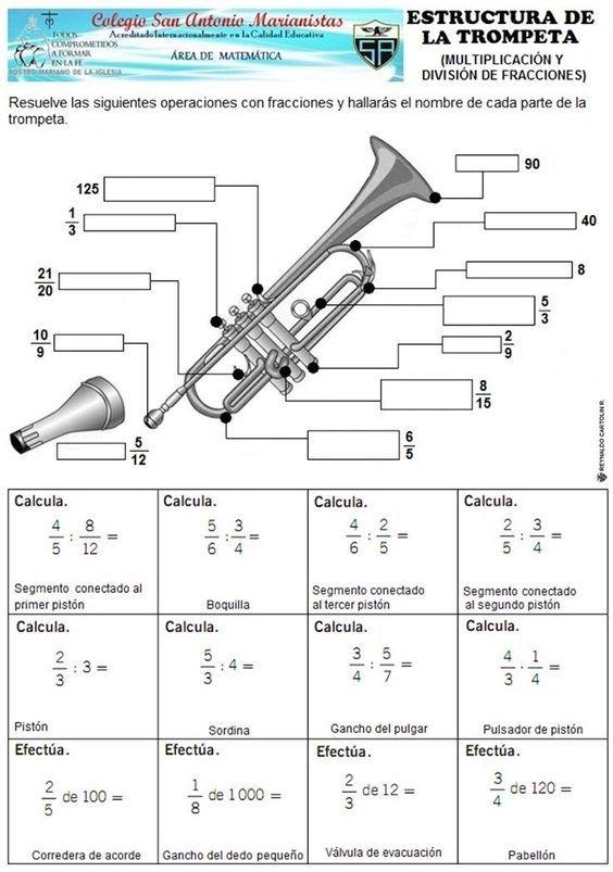Trompeta Multiplicacion Division Fracciones Multiplicación De Fracciones Multiplicacion De Fracciones Ejercicios Fracciones