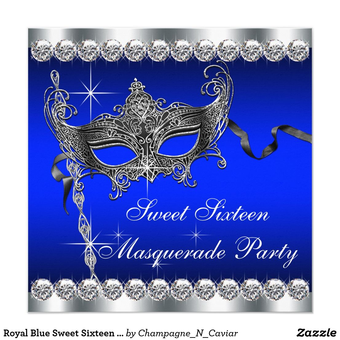 Royal Blue Sweet Sixteen Masquerade Party Card | Blue sweets ...
