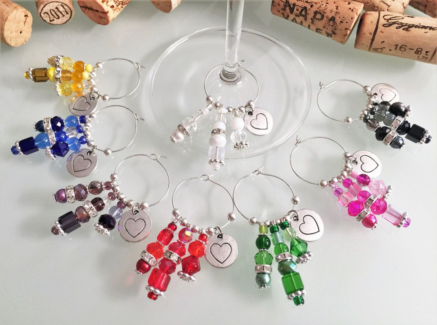 Wine Glass Charms, Heart Wine Charms, Bridal Shower Favors, Wedding ...