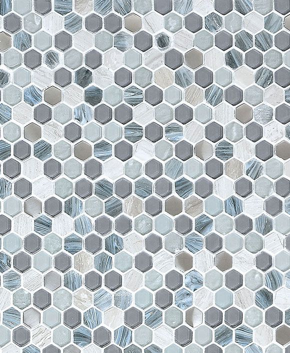 Best Blue Gray Hexagon Glass Marble Mosaic Backsplash Com 400 x 300
