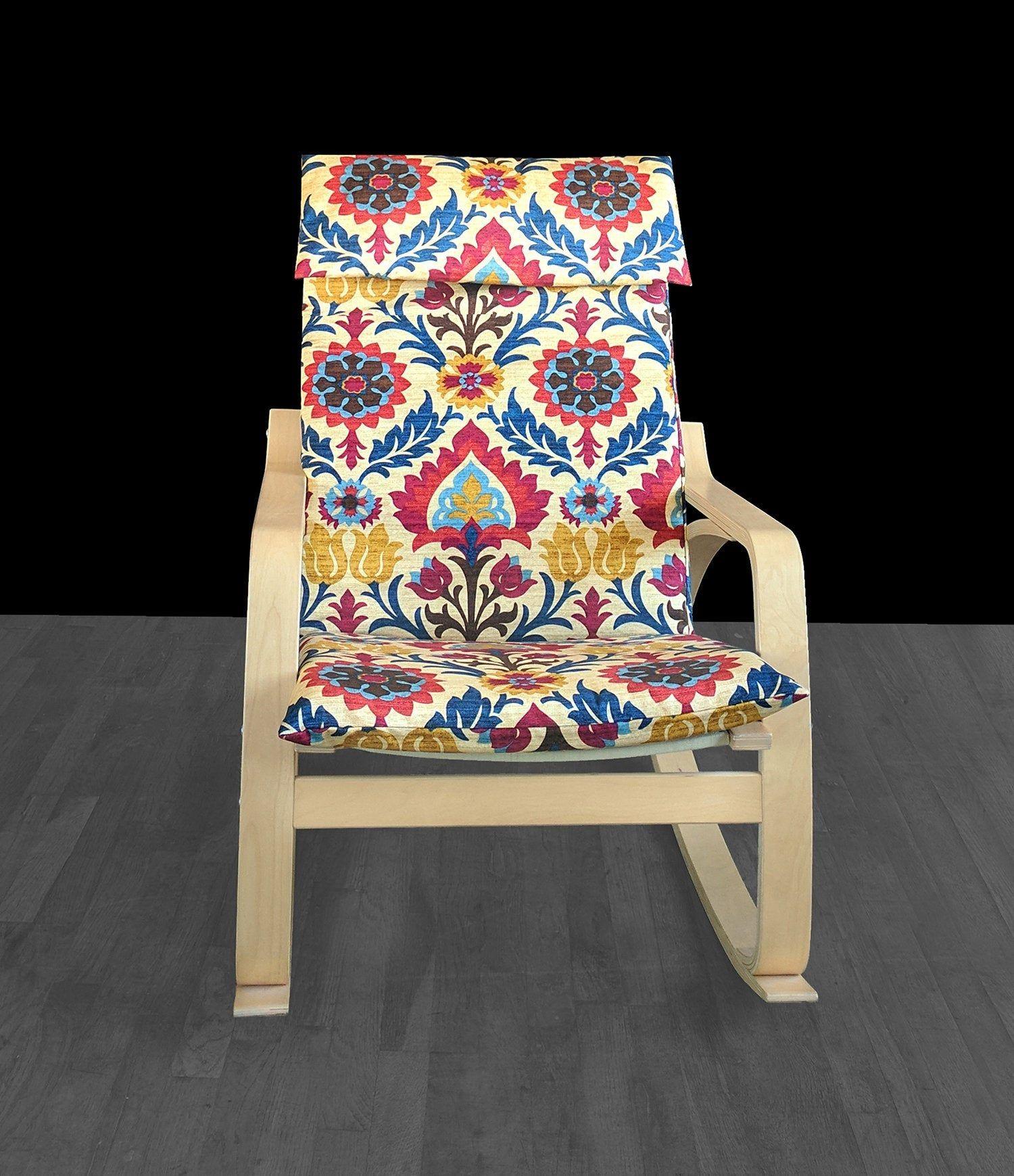Jewel Tones IKEA POÄNG Cushion Slipcover, Flower Print