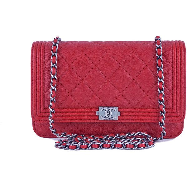 b58e4990eb352 Pre-Owned NWT 16A Chanel Red Caviar Boy Classic Quilted WOC Wallet on...  ( 2