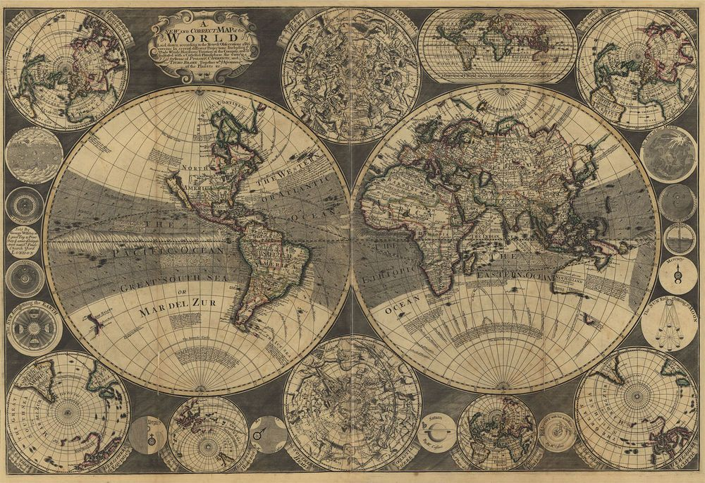 1702 world map 24x16 print america english antique home wall deco 1702 world map 24x16 print america english antique home wall deco vintage gumiabroncs Image collections