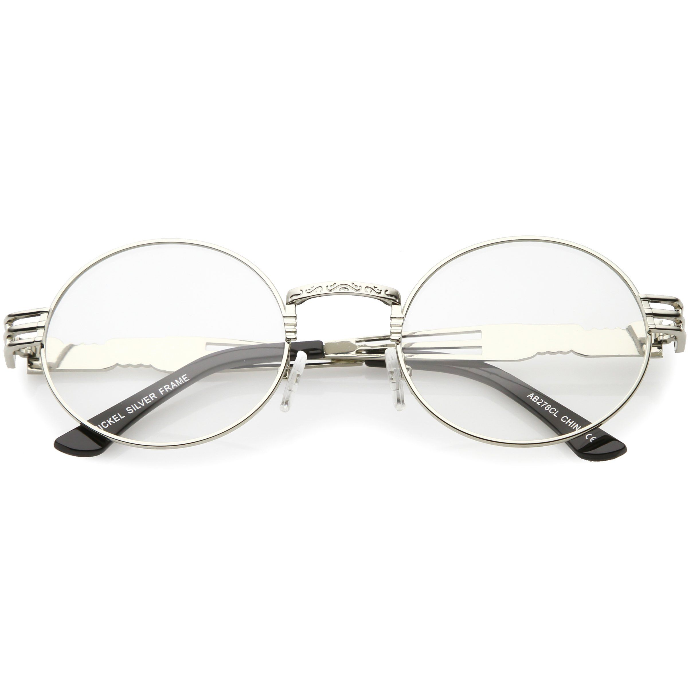 006a2f6871 Retro Round Clear Lens Engraved Metal Steampunk Flat Lens Glasses C481