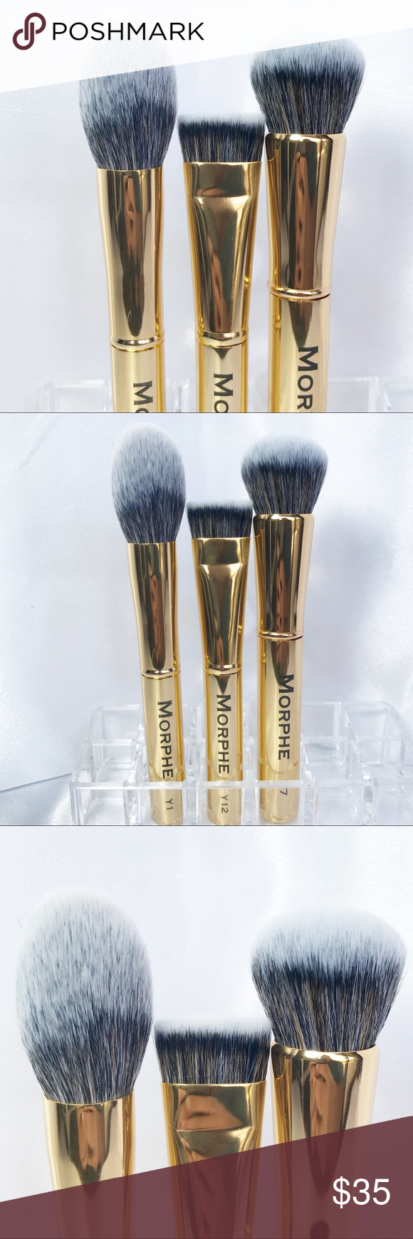 ‼️SOLD‼️🆕Morphe 3 Pc Gilded Brush Set🆕 NWT (With images