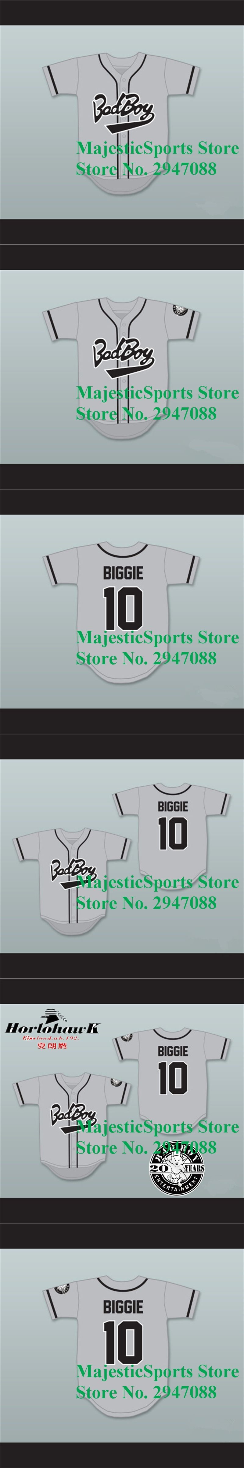 Bad Boy  10 Baseball Jersey Biggie Embroidery Stitched High Quality Gray  Jersey with 20 Years 4c18e2b0b194