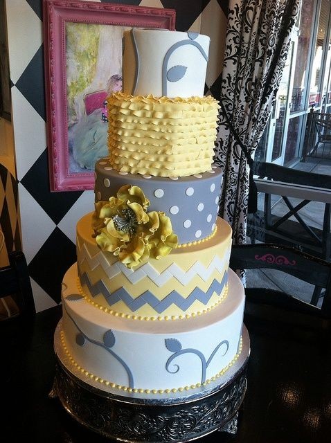 Yellow And Grey Wedding Cake By Designer Cakes By April At Wedding Ideas