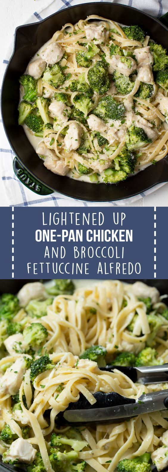 Lightened Up One Pan Chicken and Broccoli Fettuccine Alfredo is a healthier twist on classic chicken Alfredo pasta It is cooked in one pan and lightened up to make it an...