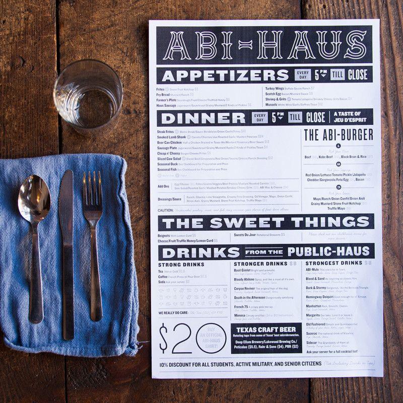Feerer Co. Restaurant menu design, Menu design