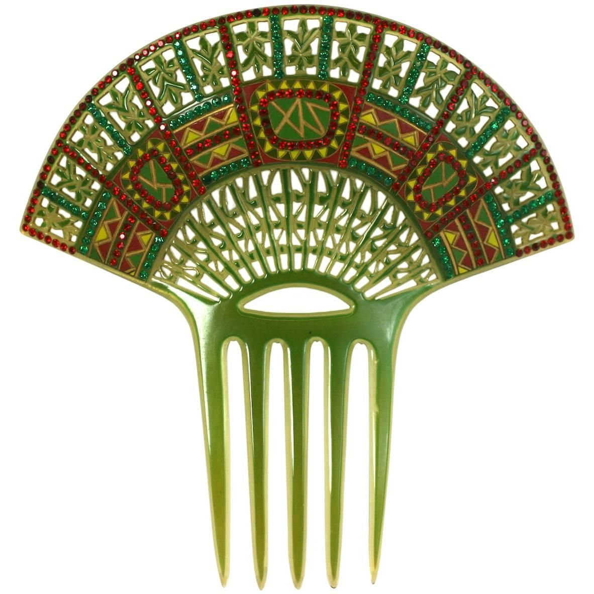 1stdibs Art Deco Pierced Celluloid And Citrine Paste Comb 0s39pTl