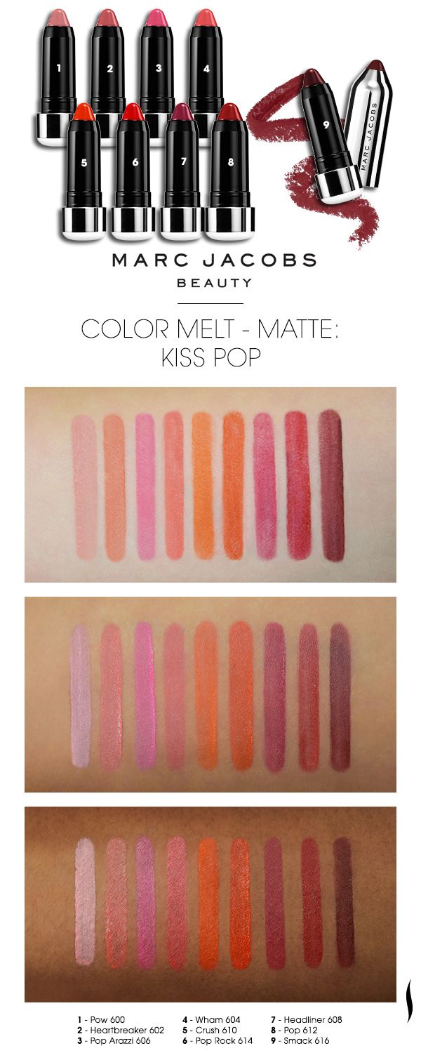d2e17a6b697 We swatched the shade range of Marc Jacobs Beauty Kiss Pop on various  skintones. Which caught your eye? #Sephora #swatches #lipstick #MouthOff  #ColorMelt