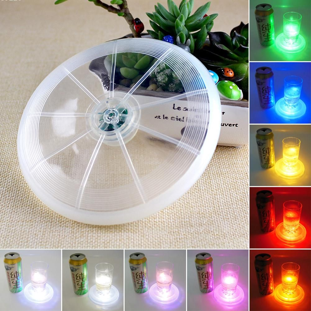 1X LED Coaster Color Change Light Up Drink Cup Mat Tableware Glow Bar Club Party Kitchen L15 #Affiliate