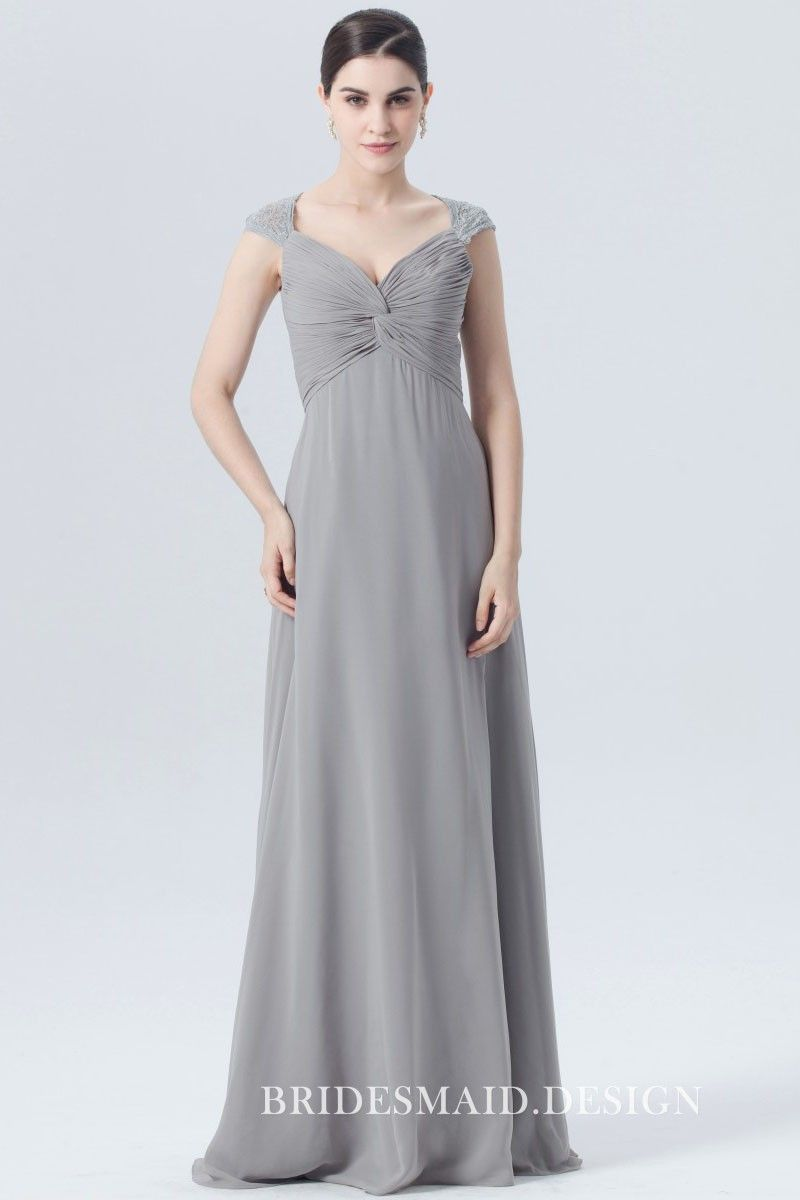 Storm grey twisted ruched lace cap sleeves aline long chiffon