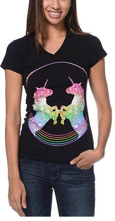 A-Lab Girls United Unicorn Black V-Neck Tee Shirt at Zumiez   PDP e30e8e105b6