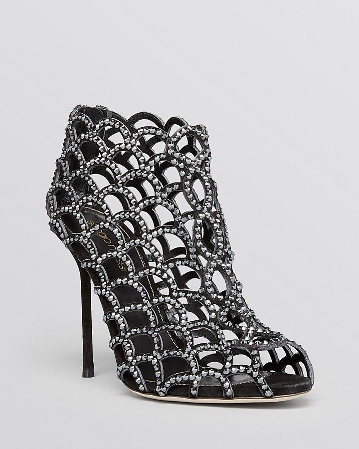 adfc939a6e4 Sergio Rossi Swarovski Crystal Mermaid High Heel Caged Booties ...