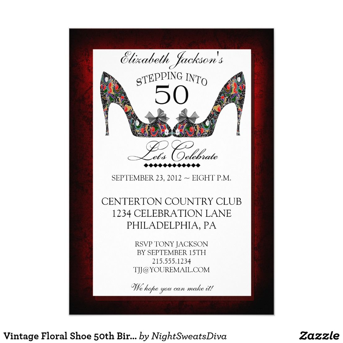 Vintage Floral Shoe 50th Birthday Invitation | Floral, 50th birthday ...