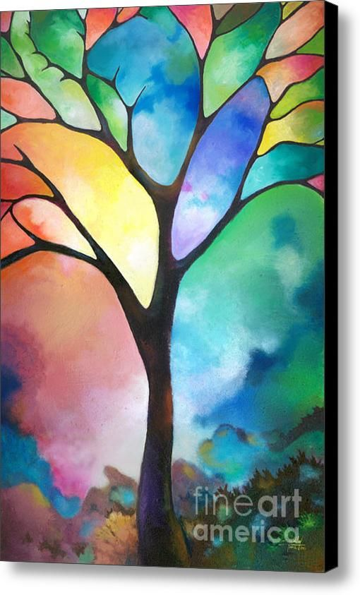 Original Art Abstract Acrylic Painting Tree Of Light By Sally Trace Fine
