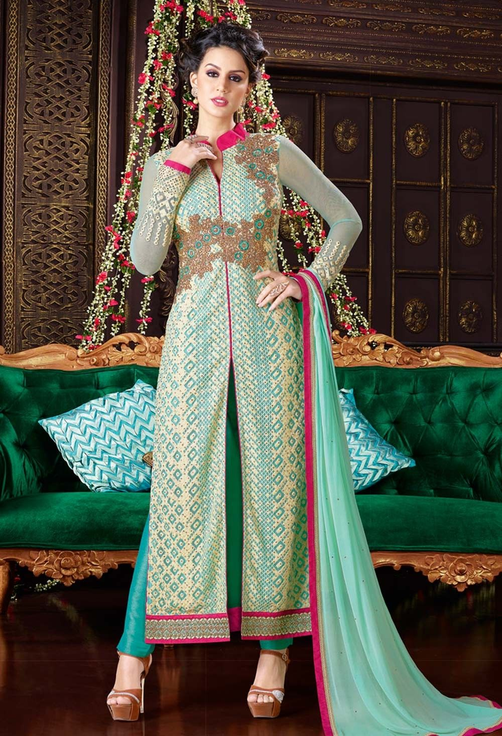 3df4c4161 Green straight front cut heavy work Punjabi suit in georgette ...