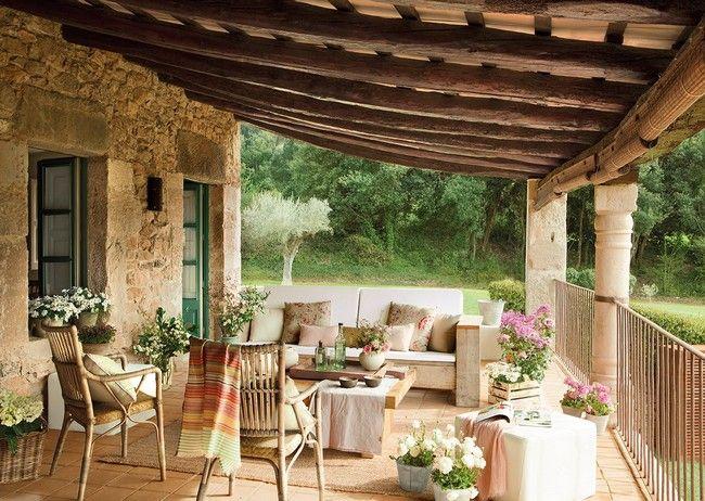 Pergola Mediterran mediterrán veranda kanapéval rattan székekkel verandák és teraszok