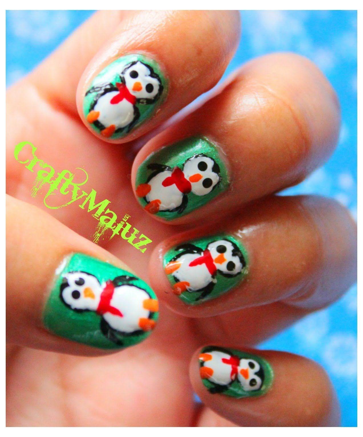 ♥DIY: Diseño de Uñas Navideño- Uñas pingüinos (fáciles de hacer ...