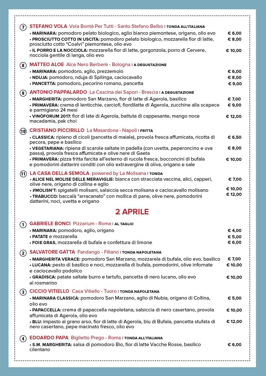 La Città della Pizza a Roma. Il menu della festa di piazza che riunisce 40 maestri pizzaioli - Gambero Rosso