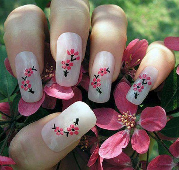 40+ Cute Nail Designs. Cherry blossom ... - 40+ Cute Nail Designs Nagelkonst, Nail Art Design Och Gulliga Naglar