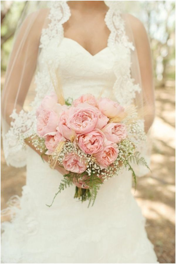 Peonies And Babys Breath Bouquets Baby S Breath And Pink Peony