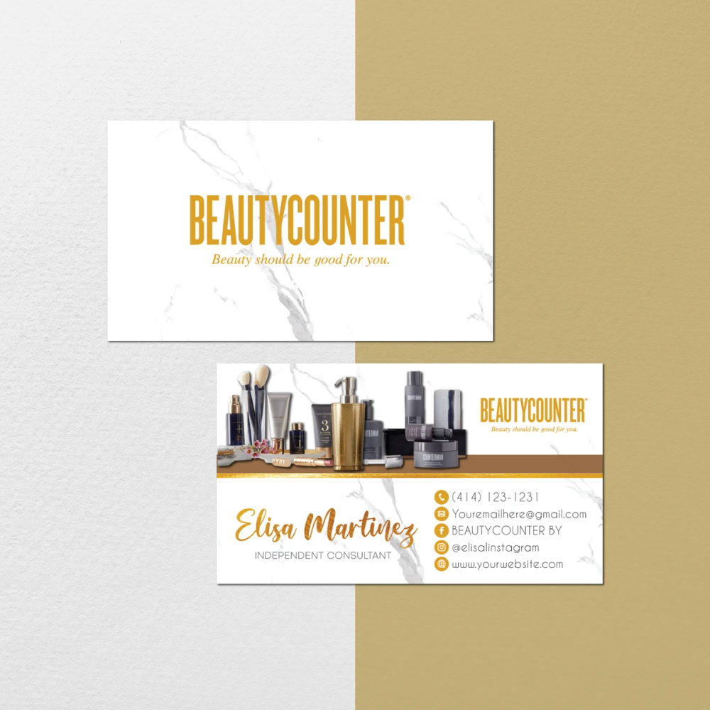 Marble Beautycounter Business Cards Personalized Beautycounter Bc101 You Can Print As Many As In 2020 Printable Business Cards Beautycounter Business Printable Cards