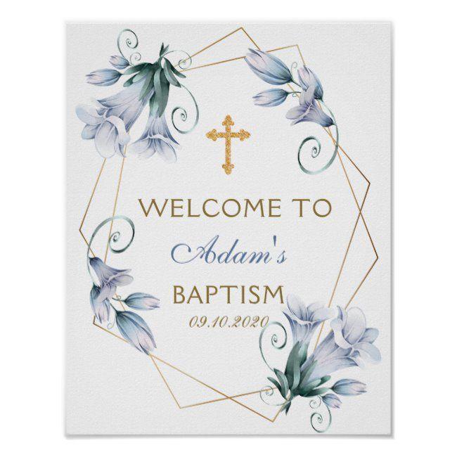 Elegant Floral Blue Boy Baptism Welcome Poster
