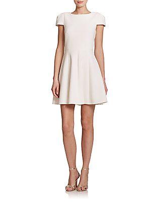 4.collective Womens Matelasse Cap-Sleeve Flirty Dress