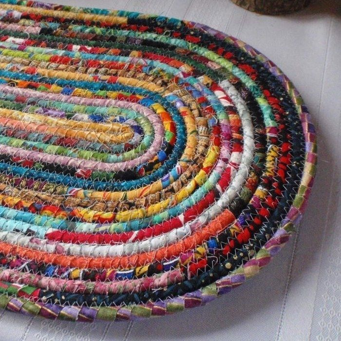 Coiled Rag Rug Instructions: Recycled Denim Area RugHere Is One Idea That Would Require