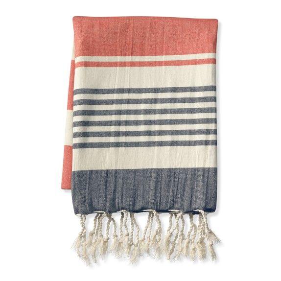 Turkish Lightweight Stripe Throw CoralNavy WilliamsSonoma Awesome William Sonoma Throw Blankets