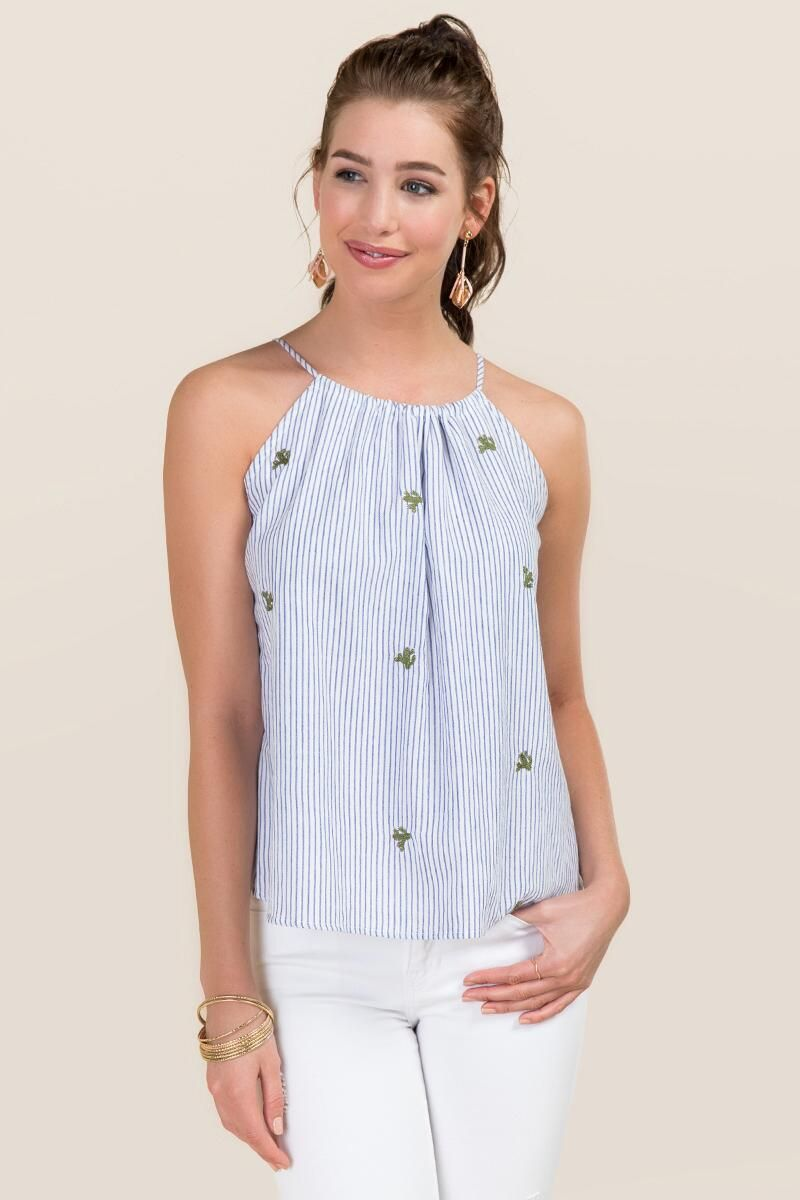 1ee8c6c94a6 Aviva High Neck Striped Embroidered Cactus Tank | Francesca's ...