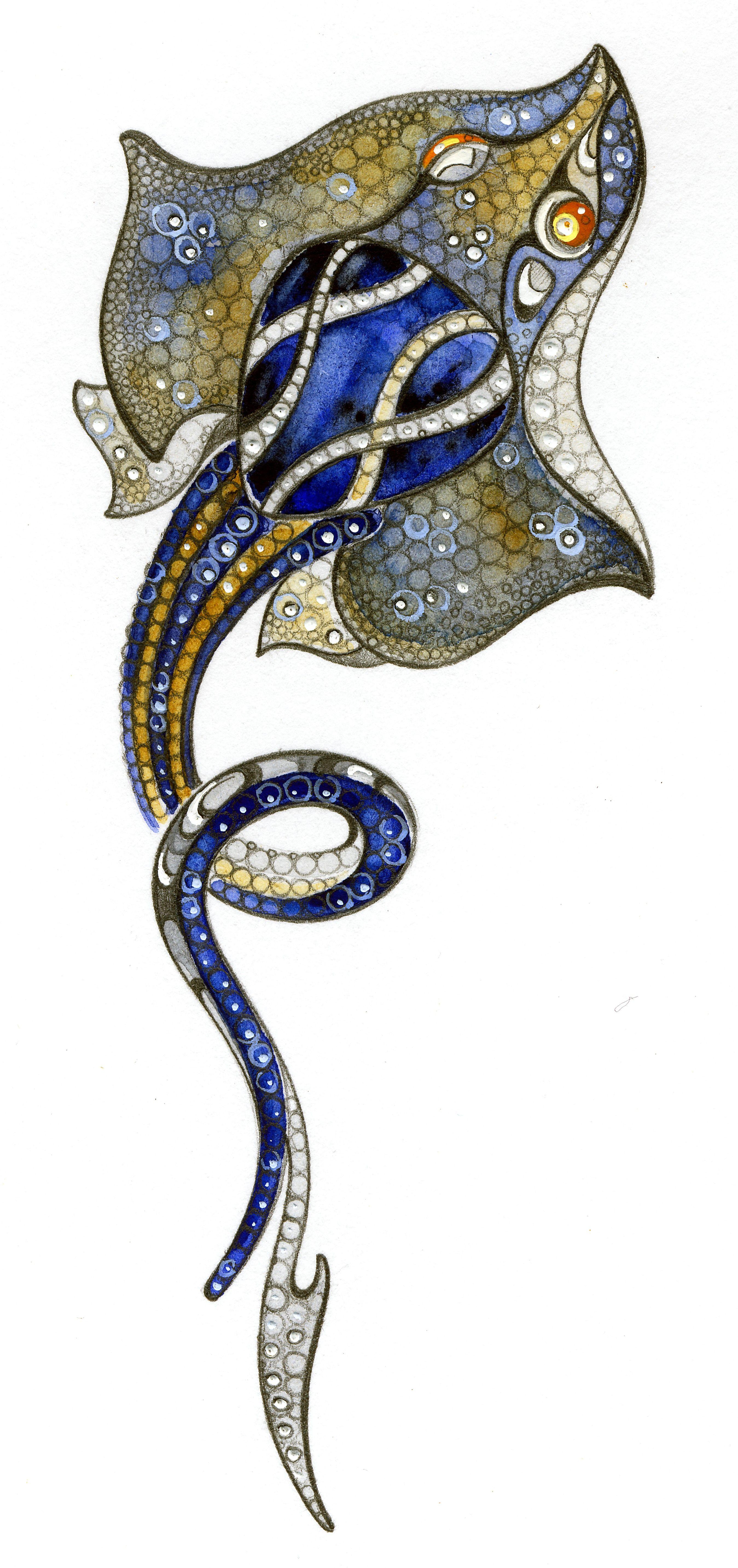 "Pendant from ""Ocean Secrets"" Collection by Master Exclusive Jewelry:  18K white gold, topaz  London blue 9,92 ct, diamonds, cognac diamonds, blue sapphires, orange sapphires."