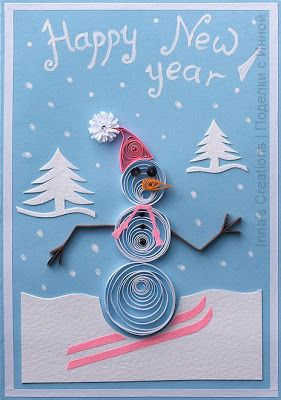 innas creations happy new year card with a snowman