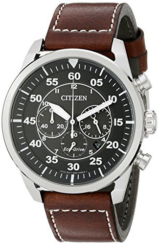 Citizen EcoDrive Mens Stainless Steel Leather Avion Watch